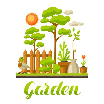 Gardening Banner With Summer Garden Landscape Tree Cheap Royalty Free Subscription Stock Photos Vector Illustrations Fonts