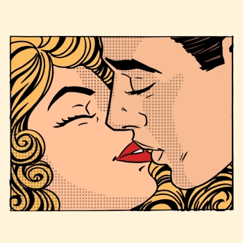 Retro kiss man and woman love couple pop art style. Retro kiss man and woman love couple