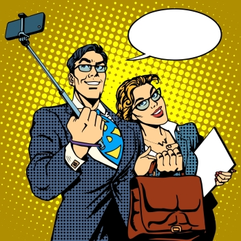 Selfie stick businessman and businesswoman photo smartphone pop art retro style. Couple man and woman friendly photo. Selfie stick businessman and businesswoman photo smartphone