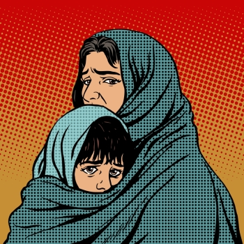 Refugee mother and child migration poverty. Eastern family. Woe to the tragedy of human emotions. Political and social theme. Refugee mother and child migration poverty