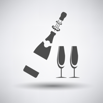 Party champagne and glass icon on gray background with round shadow. Vector illustration.