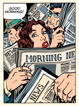 good morning news press crowd metro transport bus pop art retro style. The morning Newspapers. Tube on the road and passengers. Morning news press crowd metro transport bus